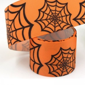 Halloween Orange Web Grosgrain Ribbon
